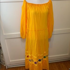 summer maxi dress with embroidered flowers